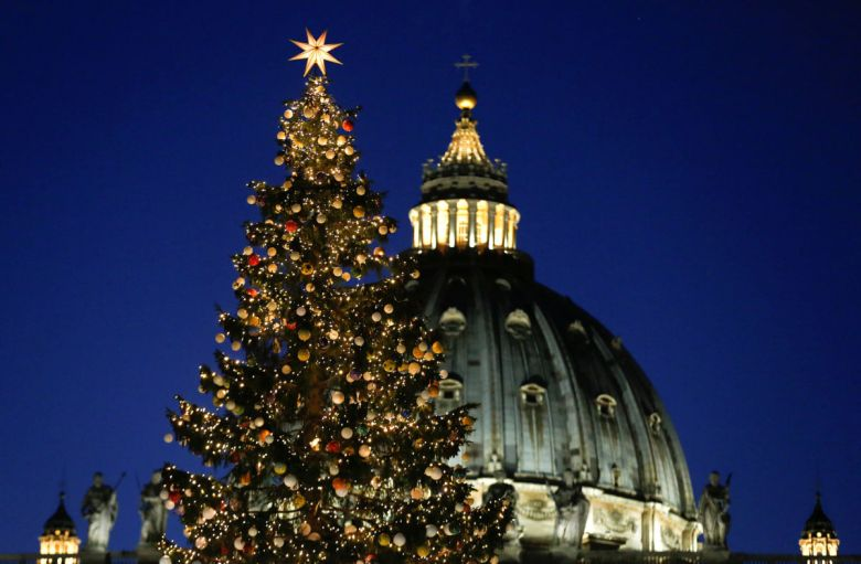 The Vatican Christmas tree is lit up during a ceremony in Saint Peter's Square at the Vatican